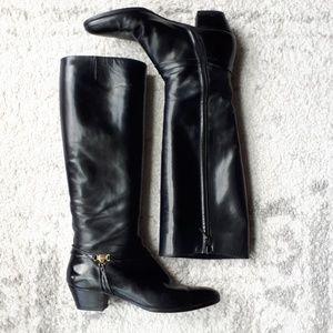 Salvatore Ferragmo leather riding boots black